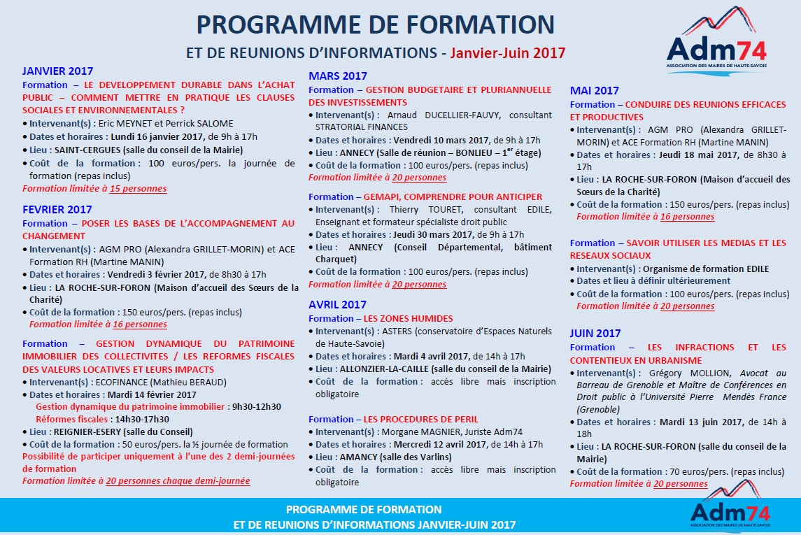 Programme formation 2017